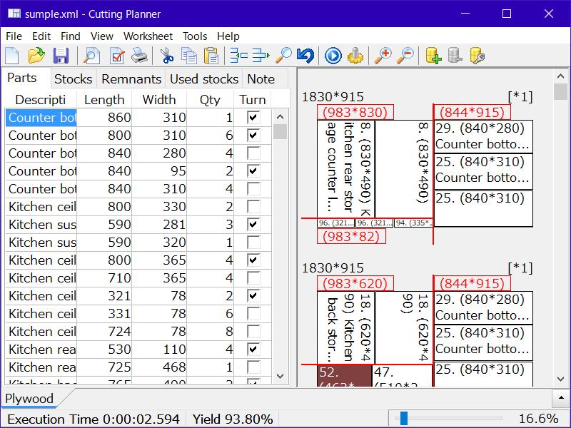 Cut optimizer : Cutting Planner full screenshot